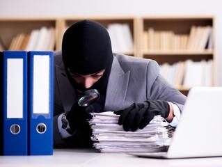 Criminal businessman wearing balaclava in office - fototapety na wymiar