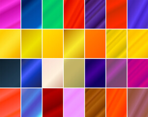 Simple backgrounds set with diagonal striped lines and different colored gradient designs.