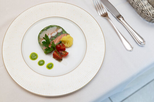 Appetizer: Salmon terrine with petit tomatoes