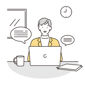シンプル イラスト 自宅でオンライン会議に参加する女性