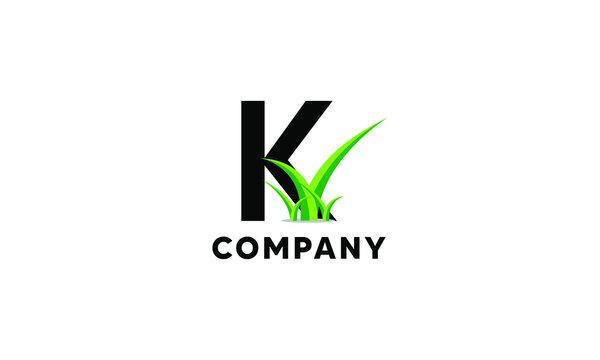 Letter K Lawncare Landscaping Green Grass Logo