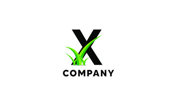 Letter X Lawncare Landscaping Green Grass Logo