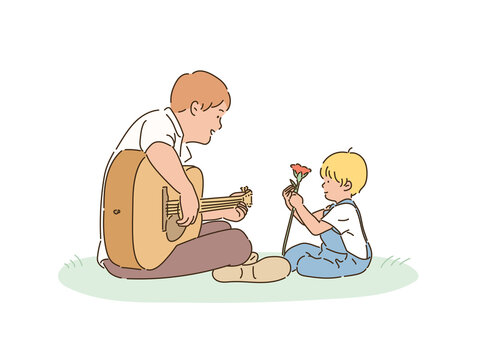 Dad and son are sitting in the park. The father plays the guitar and the son holds flowers. hand drawn style vector design illustrations.