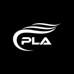 Fototapeta PLA letter logo design on black background.PLA creative initials letter logo concept.PLA letter design. obraz