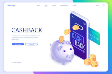 Fototapeta Cashback isometric landing page. Money back concept with credit card in smartphone, piggy bank and golden coins. Loyalty program with bonus points, application for online shopping 3d vector web banner obraz
