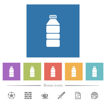Water bottle flat white icons in square backgrounds