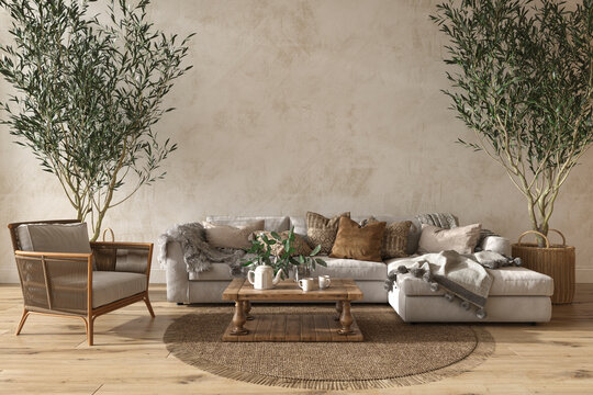 Scandinavian farmhouse style beige living room interior with natural wooden furniture. Mock up wall background. 3d render illustration.