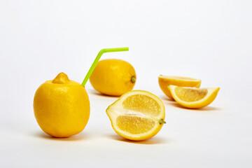 White background and fresh lemon.