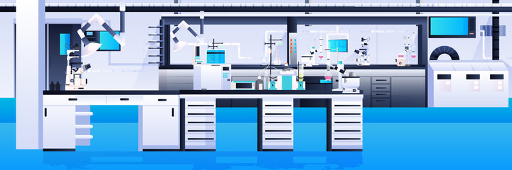 empty no people chemical research laboratory with different equipment scientist workplace science education concept - fototapety na wymiar