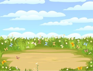 Glade. Place in a meadow with wildflowers. Grass close-up. Beautiful green rural landscape. Cartoon style. Flat design. Countryside view. Flowers. Vector illustration. art