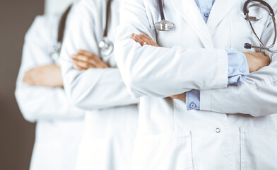 Fototapeta Group of modern doctors standing as a team with arms crossed in hospital office and ready to help patients. Medical help, insurance in health care, best disease treatment and medicine concept obraz