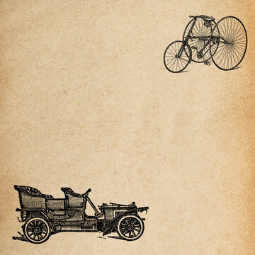 Aged paper texture background. Vintage car and bicycle