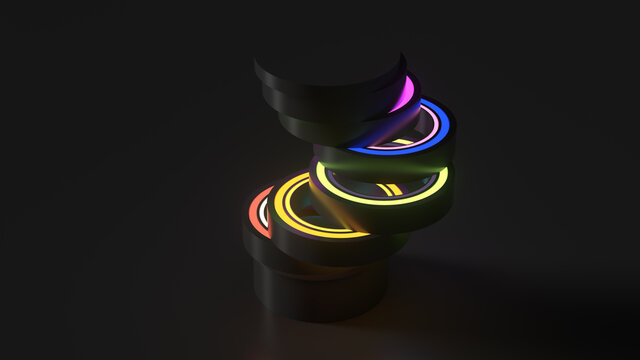 3d render of vertical geometry shape sliced into pieces with inner glow illumination material. Dark color.