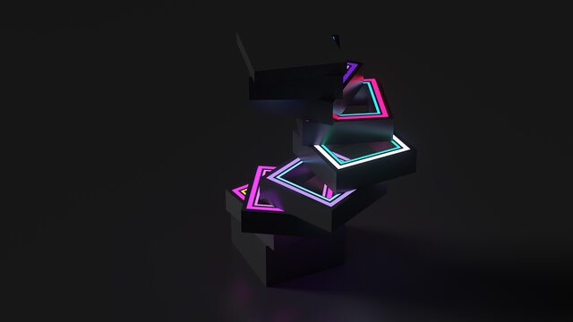 3d render of vertical rectangle geometry shape sliced into pieces with inner glow illumination material. Dark color.