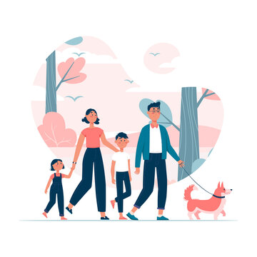 Vector illustration. Happy family with two kids walking dog on leash in the park