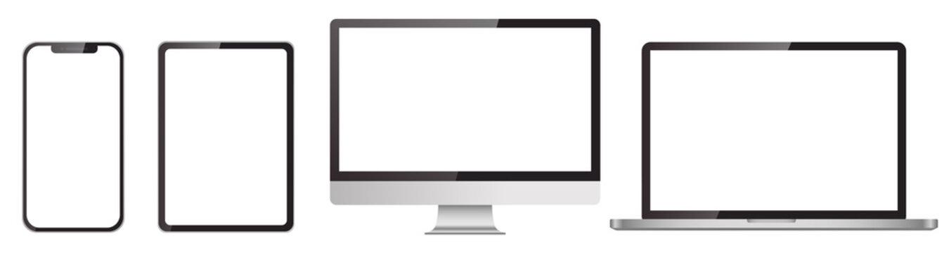リアルな3dデバイスのモックアップセット。スマートフォン、タブレットモノブロックモニター、ラップトップ コンピューター、モノブロック モニターの空白画面(ベクターイラスト)