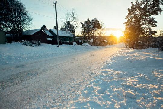 Winter rural landscape, in the Republic of Karelia, Russia.