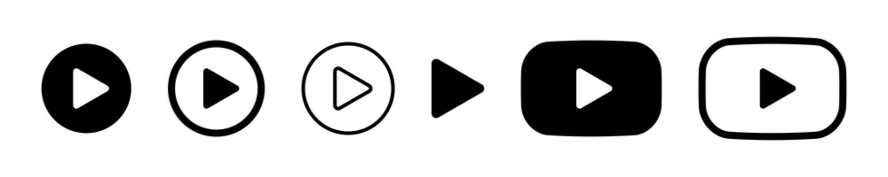 play button icon vector symbol. music video start sign.