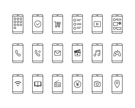 スマホとアプリのアイコンセット スマートフォン イラスト アプリケーション シンプル 線 モバイル