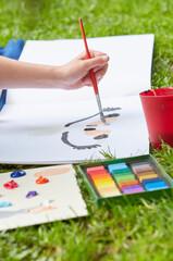 Obraz Malowanie w plenerze-zajęcia dla dzieci - fototapety do salonu