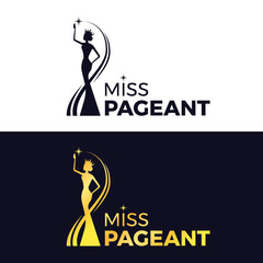 Fototapeta miss pageant logo - black and gold The beauty queen pageant wearing a crown and reaching for the stars sign vector design obraz