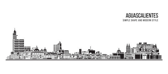Cityscape Building Abstract Simple shape and modern style art Vector design - Aguascalientes city