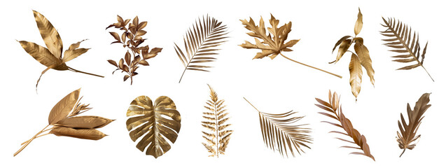 Tropical leaves in gold color on white space background.Abstract monstera leaf decoration...