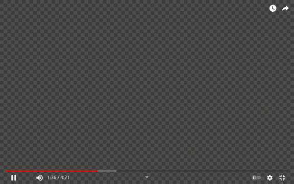 Youtube video player. Media player template with editable background. Transparent video frame mockup. Editorial YouTube player. Rivne, Ukraine - June 14, 2021