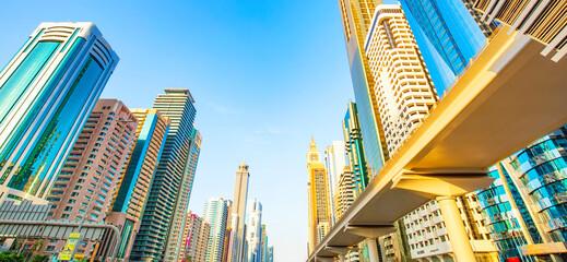 Main central street Sheikh Zayed Rd in Dubai, UAE