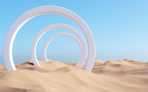 Surreal desert landscape with white arch constructions in perspective