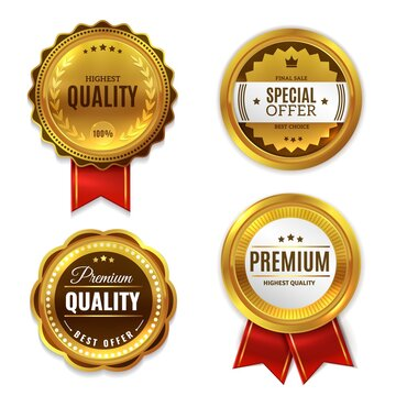 Seal quality labels gold badges. Sale and discount golden 3d medals with red ribbons, premium stamps and genuine guarantee round emblems. Best seller promotional sign vector realistic set