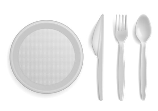 Plastic tableware. Realistic disposable serving kitchen utensil. 3D plate and cutlery. Empty bowl. Top view of spoon, fork and knife. Picnic dinnerware set. Vector flatware and dish