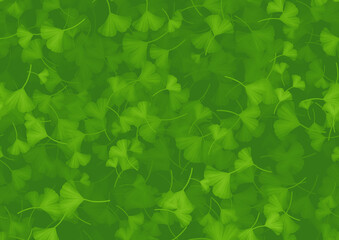イチョウの葉っぱ横長背景素材