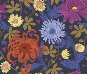 Floral Vintage colourful seamless pattern, botanical background. Arts and Crafts movement. Design for fabric, fashion clothes, wallpaper, stationery, wrapping paper