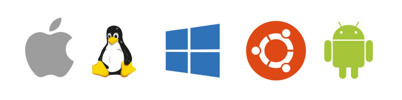 OS black logo set : Windows, Mac OS, Android, Apple IOS, Linux, Ubuntu. Modile and desktop Operating-System . OS logotype icons vector collection.