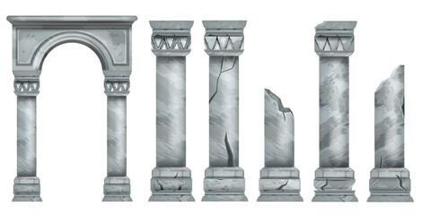 Fototapeta Roman marble pillars set, ancient vector Greek stone broken columns collection, antique architecture. Classic pillars colonnade, decorative arch design element, portal ruin. Marble pillar illustration obraz