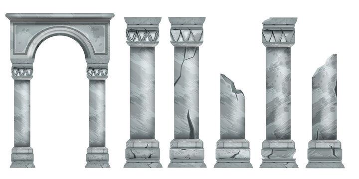 Roman marble pillars set, ancient vector Greek stone broken columns collection, antique architecture. Classic pillars colonnade, decorative arch design element, portal ruin. Marble pillar illustration