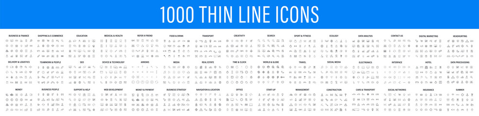 Big set of 1000 thin line Web icon. Business, finance, shopping, logistics, medical, health, people, teamwork, contact us, arrows, electronics, social media, education, management, creativity. Vector. - fototapety na wymiar