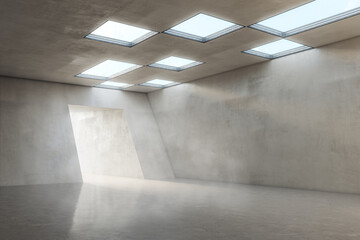 Fototapeta Stylish empty concrete hall area with glossy floor and lights from windows on top and tunnel entrance for car presentation and defile. 3D rendering, mock up obraz