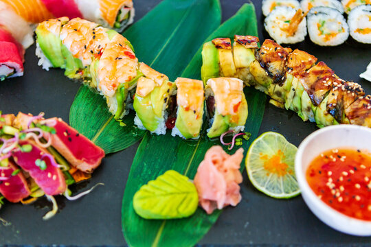 Japanese food. sushi. seafood fabrics. Japanese culture. White background.  plate of Japanese traditional cuisine, sushi. wonderful and delicious food. asian food and cuisine