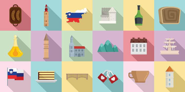 Slovenia icons set, flat style
