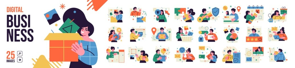 Business Concept illustrations. Mega set. Collection of scenes with men and women taking part in business activities. Vector illustration - fototapety na wymiar