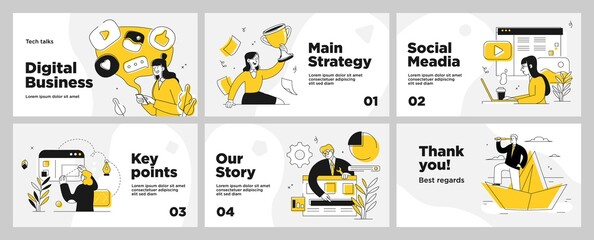 Presentation and slide layout background. Yellow design template with business people. Use for business annual report, flyer, marketing, leaflet, advertising, brochure, modern style. Vector - fototapety na wymiar