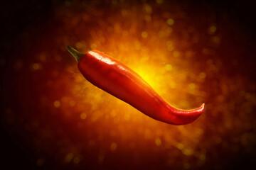 Red hot chili pepper on dark background