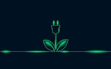 Continuous line art green neon energy plug concept. Sustainable power storage electric rechargeable supply. Charging battery eco global planet solution. Hand drawing sketch illustration - fototapety na wymiar