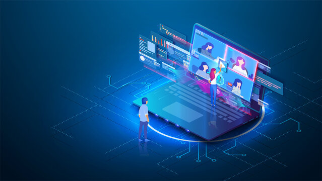 Video conference online call isometric landing page, colleagues business people team.Isometric illustration of the browser window or online meeting work from home. Online meeting work form hom. Vector