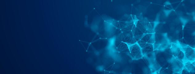 Fototapeta Digital technology cyberspace futuristic background, modern blue tech abstract design graphic neon light effect. obraz