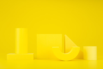 Abstract yellow monochromatic background composition with yellow geometric figures against yellow...
