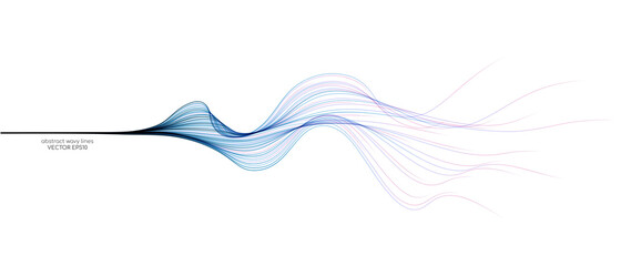 Vector abstract light lines wavy flowing dynamic in blue pink colors isolated on white background for concept of AI technology, digital, communication, 5G, science, music