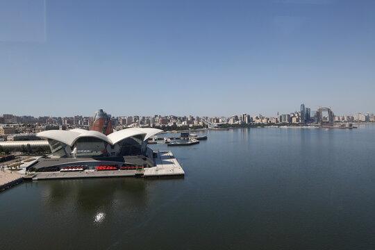 A general view shows an embankment of the Caspian Sea in Baku